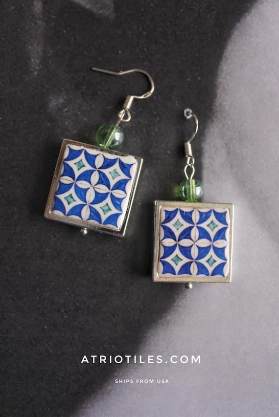 SILVer Earrings Portugal Portugese Tile  Antique Azulejo - 925  Framed -Rua de Aviz Evora - Historic!  Gift Box Included 701
