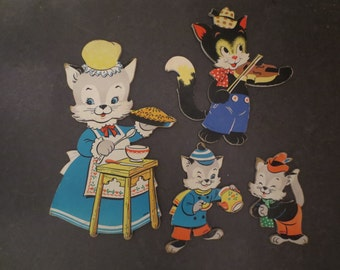 4 Vintage Heavy Cardboard Cat Wall Hangings Dolly Toy Co. Mother Goose Nursery Decor Crazy Cat Lady Decor