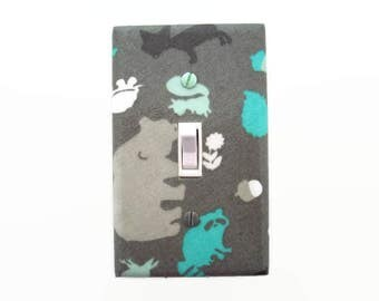 Woodland Light Switch Cover - Gender Neutral Nursery - Forest Animals Switch Plate Cover - Grey Aqua Animal Nursery - Raccoon Bear Squirrel