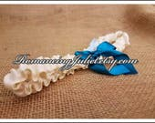 Simple Satin Bridal Garter with BONUS Something Blue..You Choose The Colors..shown in ivory/teal green