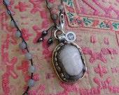 LAVENDER JADE BUDDHA Pendant Necklace, yoga, boho, tribal
