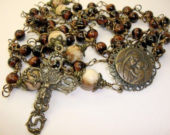 Catholic Rosary, Mary and Jesus, red tigereye grade A, Bronze components, wire-wrapped, Abundant Grace***