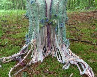 hand knit shawl art yarn gossamer enchanted forest faerie wrap - woodland violets dream wrap