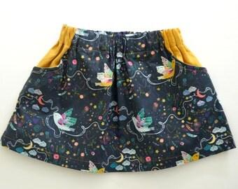 Girls Navy Blue Bird Print Party Skirt with Mustard Linen Pockets. 12mths-8 years