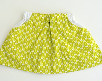Girls Organic Cotton Lime Colored Boho Party Skirt with White 100% Linen Pockets. 12mths-8 years
