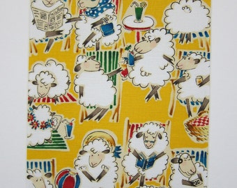 "RARE FABRIC ART Design - Alexander Henry Hello Dolly 1997 Sheep - Mounted For Framing  - 8""x10"" Matted Image - Final Size with Board 11""x14"""