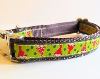 Green Garden Gnome Dog Collar with Metal Buckle - XS