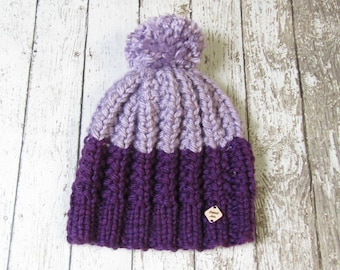 Plum and Light Purple Adult Hand Knit Hat with Jumbo Pom Pom Ready to Ship