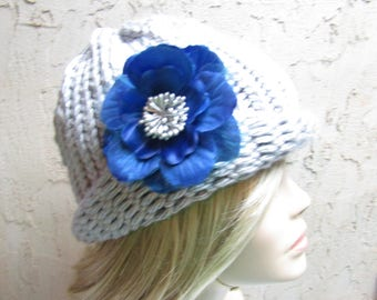 Gray  Cloche Adult Hand Knit Hat with Removable Blue and Grey Flower Clip Ready to Ship