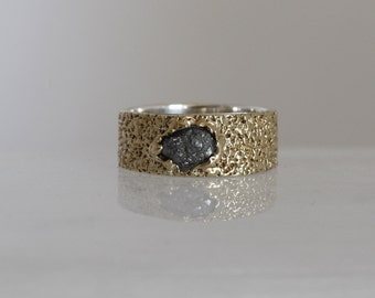 Engagement ring for women, solid gold ring, Ring with diamond, Rough diamond, 925 silver band ring.