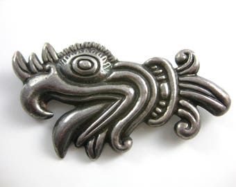 Vintage Mexican Lopez Sterling Silver Aztec Brooch Pin