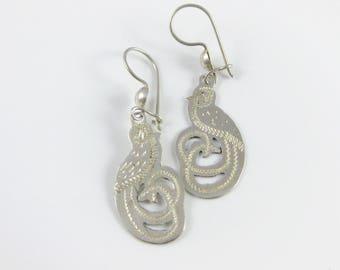 Vintage Etched Sterling Silver Quetzalcoatl Bird Pierced Ear Earrings