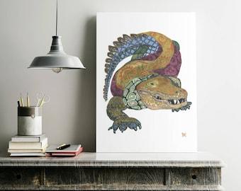 alligator//gator//art//giclee print//reptile 13x19, 13 x19, 11 x 14, 8 x 10, 5 x 7