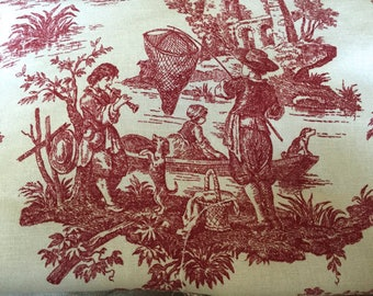 Waverly Toile 4.25 yd Fabric Yardage Red Ivory Country Life French Toile For Tote Pillow Covers Upholstery Remnant Like Jamestown Farm Scene