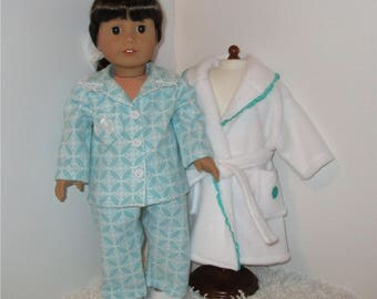 """White Robe and Slippers with Teal Flannel Pajamas, Fits 18"""" Dolls // AG Pajama Set, American Girl, Slippers, AG Doll Clothes, Sleepwear"""
