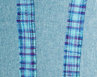 Handwoven Blues and Lavenders, Men's or Women's Unisex Merino Wool Scarf