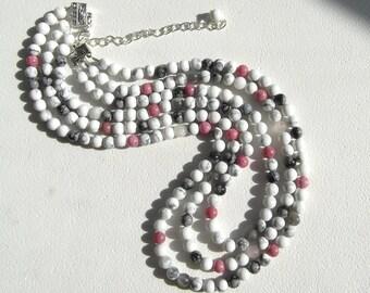 White Howlite Rhodonite Snowflake Obsidian Moonstone Rose Quartz Triple Strand Necklace