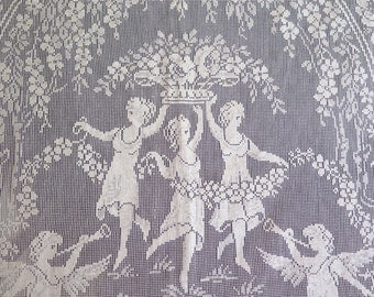 "Antique Linen Coverlet/Curtain with Figurial Filet Lace Three Graces Floral Butterflies in Light Ivory 102"" x 84"""