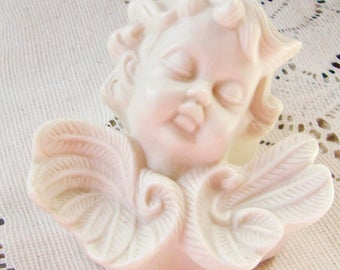 Cute Angel with Wings White Bisque Trinket Box