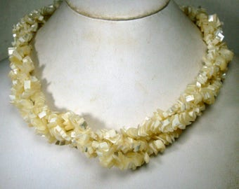White Seashell Necklace, Mother of Pearl LUMINOUS 3 Strands of MOP Chips, For Mermaids, 1970s, She Sells SeaShells by The....