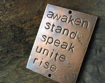 awaken and rise - copper passages plaque