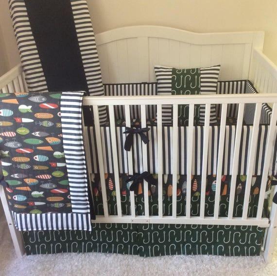 Baby Boy Crib Bedding Set Fishing Lures Orange Navy Green Gray