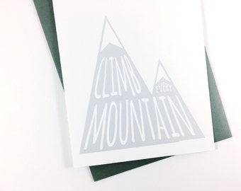 Graduation Card Motivational Card Mountain Range Get Well Card Inspirational Good Luck Card Encouragement Card Blank Greeting Card Friend