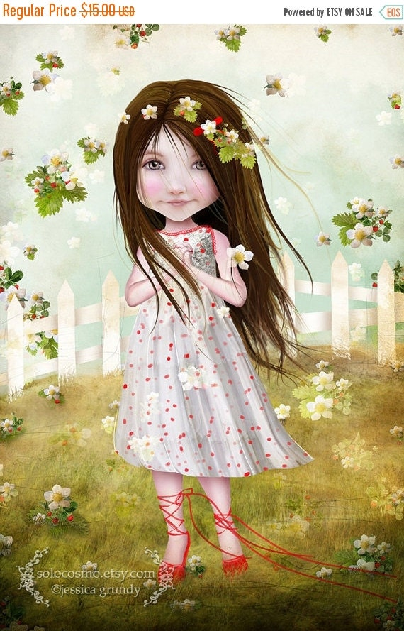 "CHRISTMAS SALE Fine Art Print ""Annalise Lane"" 8.5x11 or 8x10  Premium Giclee Print - Little Strawberry Girl - Cute Child Print - Green Red -"