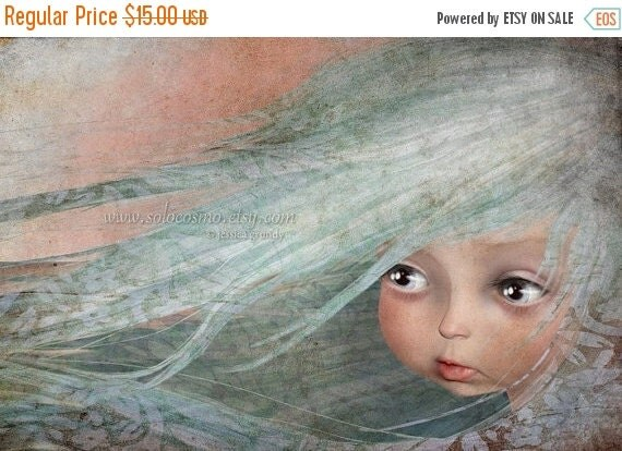 """BIRTHDAY SALE Little Girl with Baby Blue Hair Sweet Child Print """"Winter""""  Art 8.5x11 or 8x10 Giclee Print of Original digital Painting"""