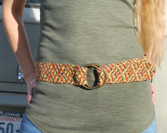 Vintage Woven Boho Belt Rainbow Wide Jute Belt