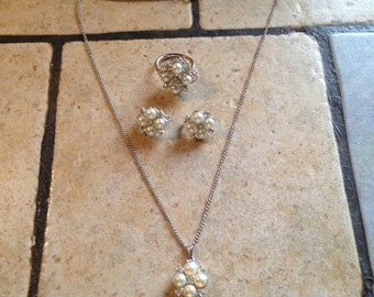 NEW White Pearl Necklace, Ring, and Earrings by Sarah Coventry