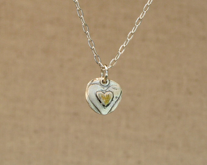 Tiny Heart & Gold Necklace