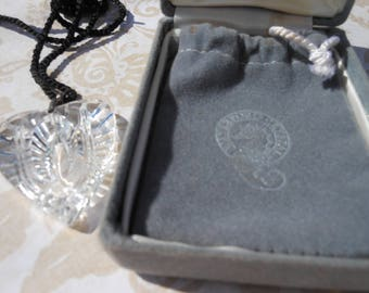 Waterford Crystal Heart Pendant complete with box bag vintage crystal designer marked
