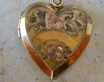 Stunning Edwardian Heart Locket gold etched Sterling Jewelry Picture antique art nouveau gift wedding Victorian heart charm