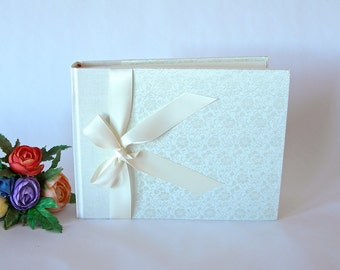Photo album - ivory brocade 30 pages -6x8in 15x20cm - Ready to ship