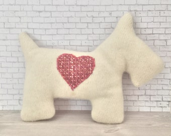 Scottie Dog Pillow Plush - Recycled wool sweater - Eco Friendly - White with pink heart