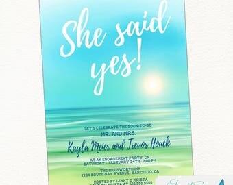 Beach Engagement Party Invitation, Beach Wedding, Beach Sunset, Destination Wedding, Tropical Wedding, Sunset Invitation