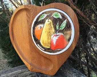 Vintage Solid Walnut Cheese Board--Signed Fred Press--Mid Century--Apple Shaped Appetizer Tray--Ceramic Tile Fruit Artwork--Retro Mod