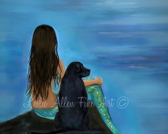 "Mermaid Art Print Mermaid Painting  Black Lab Art Lab Art Mermaid Theme Dog Art  Decor ""MERMAIDS LOYAL BUD"" Leslie Allen Fine Art"