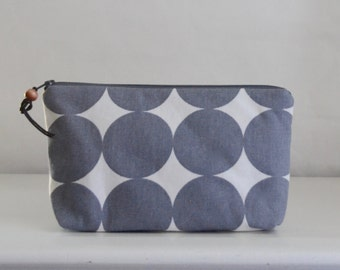 Grey Dots Wide Padded Zipper Pouch Gadget Case Cosmetics Bag - READY TO SHIP