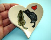Painted Cat Plate – Heart Dish – Rescue Cats – Gift for Cat Lover – Spoon Rest – Tea Bag Holder – Valentines Day