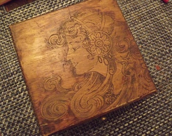 circa 1910 pyrography box with pretty lady - charity for animals