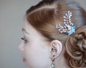 Boho wedding hair pin, Something Blue hairpin, gold blue hair twig, bridal hair jewelry, Crystal Flower Hair Pin, Vintage Wedding Hair Pin