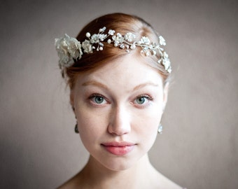 Floral hair crown, Pearl and silver wedding flower hair halo, Ivory Pearl and crystal silver wire branches, wrapped beaded wedding hair vine