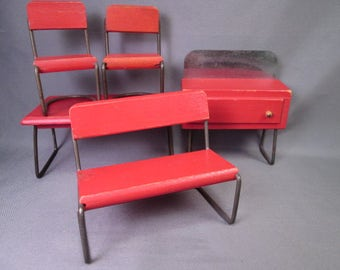 """Vintage Doll House Furniture - Early Kage Dining Room Set - 1"""" Scale"""