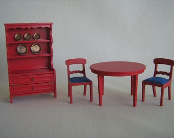 """Vintage Lundby of Sweden Miniature Dollhouse Furniture- Red Kitchen Set in 3/4"""" Scale"""