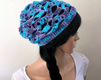 Beach Music Summertime Beanie- Crocheted in 100% Hand-Painted Cotton Yarn- Women Girl Teen - Shell Stitch Crochet - Boho Indie Design -