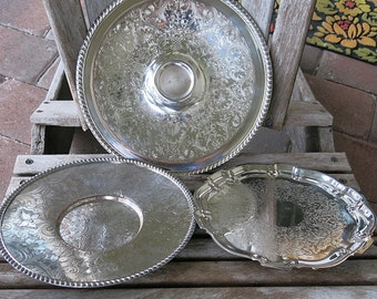 3 Silverplate on Copper Tray Platters Vintage Shabby Cottage Decor Wedding Shower Serving Display