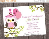 SALE SALE SALE Pink Owl Birthday Invitations - 1.00 each with envelope