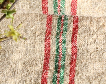 EP 90:antique handloomed faded GREEN and faded Red 55.12 inches long; 리넨 , grainsack for pillows cushions runners, wedding decoration